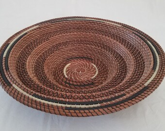 Basket made with Pine Needles - Large stair stepped natural Art bowl - Brown & Yellow - Hand stitched Bread Rolls - Gift FL USA - 245.00