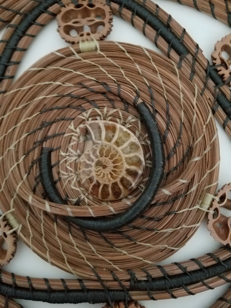 Ammonite Fossil Pine Needle Art Basket  Hand sewn with image 0