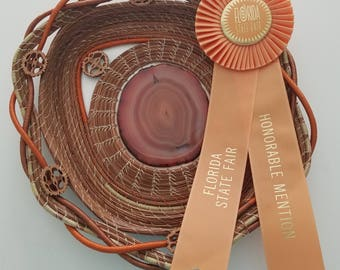 Pine Needle Art Basket - Rust Brown Agate Geode Crystal - Honorable Mention Ribbon Florida State Fair -  Black Walnuts - Gift - 245.00