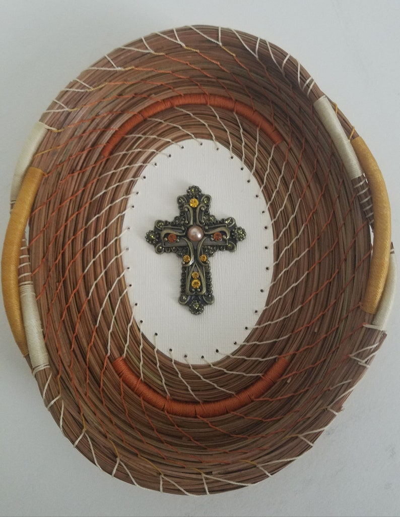 Jeweled Cross Rhinestones Rust Gold Cream Pine Needle Basket  image 0