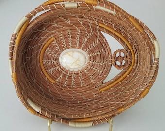 Cream Gold & Natural Brown Pine Needle Basket - Rock Stone Jasper Stone - Handmade Go Green - Made in FL USA - 65.00