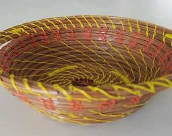 Pine Needle Basket Orange & Yellow - Natural - Handmade organic recycled material Black Walnut slice - Bowl - Hand Made in FL USA - 34.00