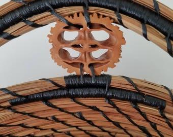 Bamboo Wood & Black Walnut Pine Needle Basket - Hurricane Irma - Handmade - Organic Recycle Go Green - Gift Florida USA - 125.00