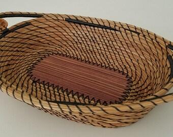 Exotic Striped Wood & Black Walnut Pine Needle Basket Tray- Hurricane Irma - Handmade - Organic Recycle Go Green - Gift Florida USA - 125.00