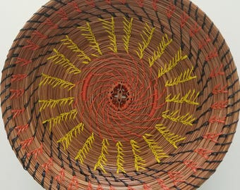 Yellow and Orange Pine Needle Basket Bowl - Natural Pine Straw Recycle Jewelry Dresser - Bowl Gift Handmade Made in FL USA - 65.00