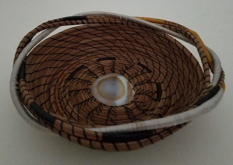 Pine Straw/Needle Basket  Hand stitched with White Black & image 0