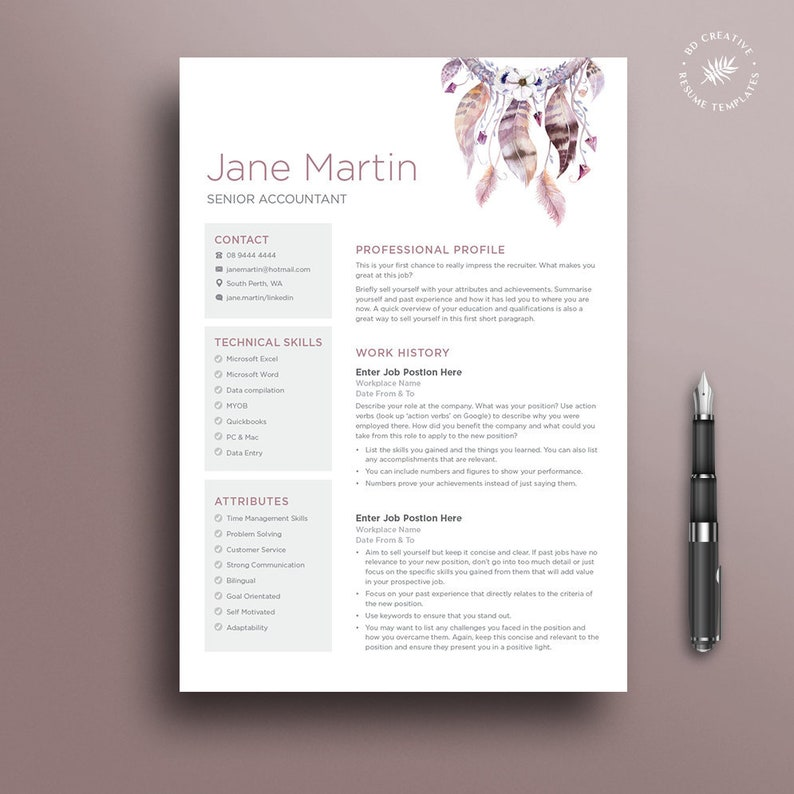 Watercolour Resume Template 6 | Boho, Watercolour, Modern, Professional CV  | Microsoft Word | Instant Download | Free Job Seeking Tools