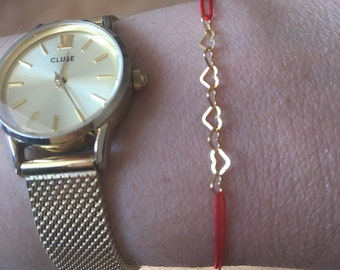 """Hearts Collection """"Mother's day"""" BRACELET / adjustable red thread"""
