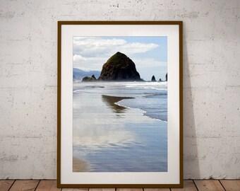 Haystack Rock, Cannon Beach, Wall Art Print, Oregon Coast, Oregon Photo Print, Ecola Point Oregon, Coastal Beach Decor, Blue Decor, Mountain