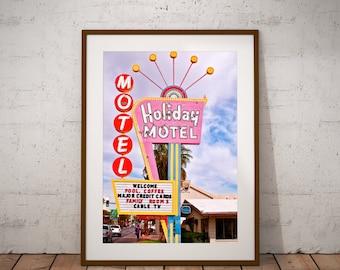 Neon Sign Art,Vintage Vegas Sign, Downtown Las Vegas, Holiday Motel Neon, Las Vegas Neon, Large Wall Art Print, Las Vegas Print, Retro Art,