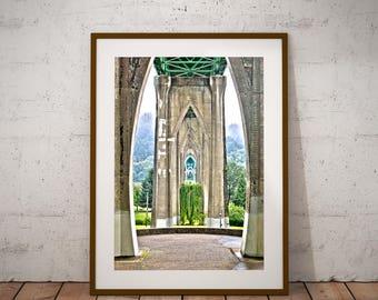 St John's Bridge, Print, Art,Portland,Oregon,Architectural,Urban,Home Decor,Dorm,Large Wall Art Print,Gothic,Gifts, Christmas,Cathedral Park