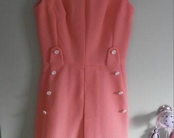 60s vintage pink sleeveless dress
