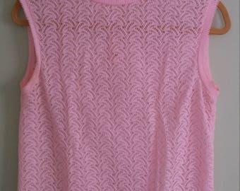 60s vintage pink tank top sleeveless sweater vest