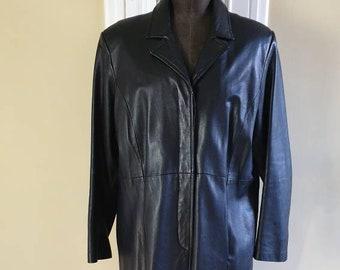 Milan vintage knee length luxury soft leather black coat size 20