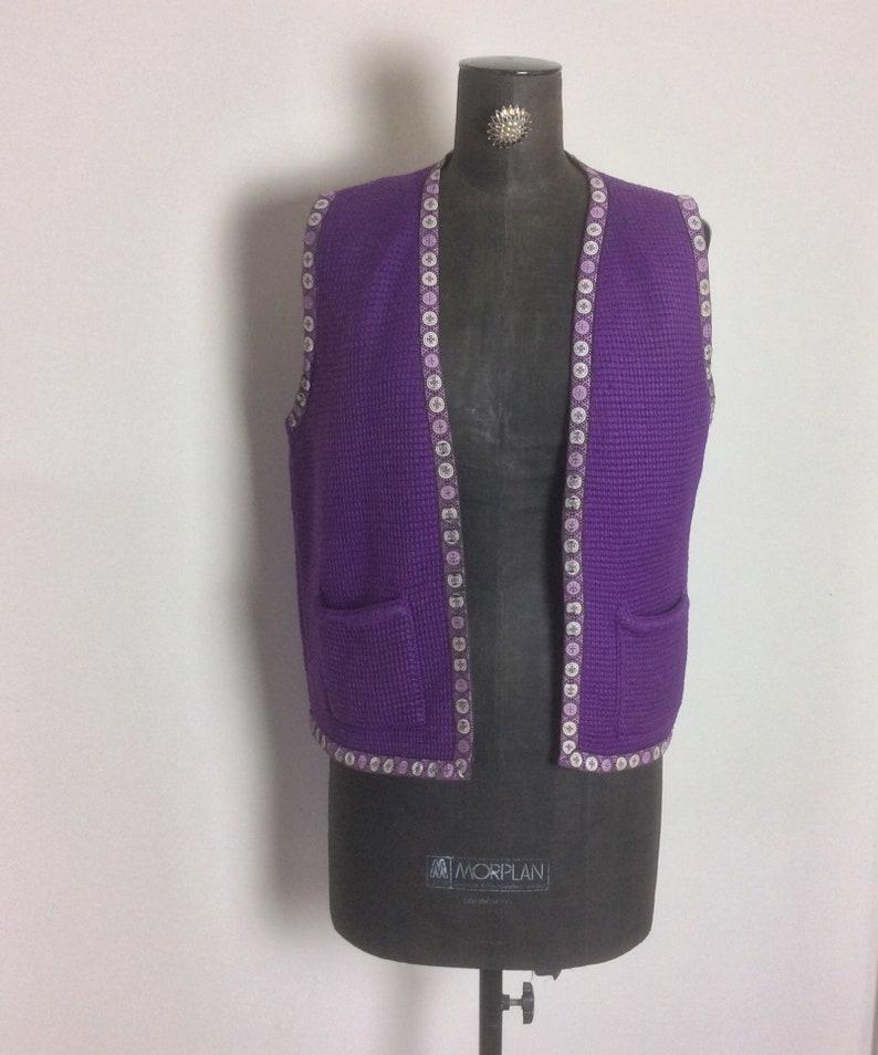 boho hippy waist cost 42 inch chest 1970\u2019s purple wool festival