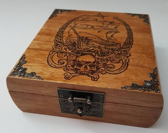 Wood Burned Treasure Box, Vintage, Nautical, Pirate Ship, Treasure Map, Beach Decor, Skull & Crossbones, Cigar Box, Housewarming