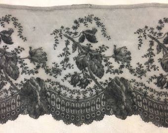 Antique French Silk Ombre Chantilly Bobbin Lace Black Mourning Normandy Roses Flounce Victorian Edwardian Estate Museum Wide Vintage Trim