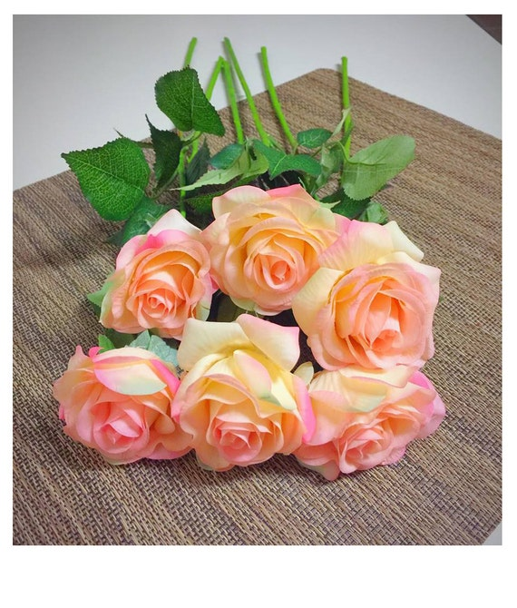 10pcs Real Touch Artificial Champagne Rose Flower For Wedding Etsy