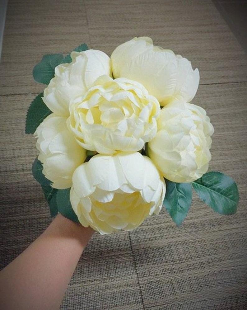 6 Blooms Peony Bouquet Silk Flowers Bridal Wedding Bouquet Party or Home Decorative Flower Arrangement Bridal Bouquet Table Centerpiece
