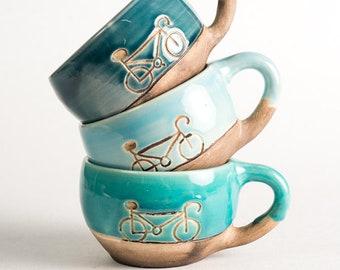 Blue ceramic mug with bicycle 0,25l, Cute glazed crockery mug