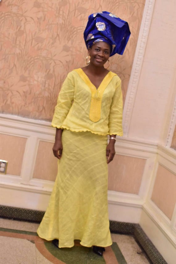 Embroidery Order clothing Custom wedding African African African Cotton Yellow Ladies outfit embroidery 1BIwgx