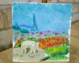 Mini Painting Autumn in Paris Eiffel Tower Original Handmade Small Oil Painting on primed cardboard Cityscape miniature fine art gift decor