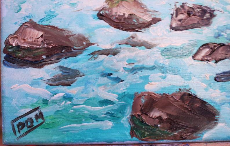Seascape Original Oil Painting on canvas Impressionism Sea Landscape fine art painting interior decor