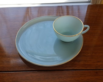 Anchor Hocking Fire King Turquoise Snack Set