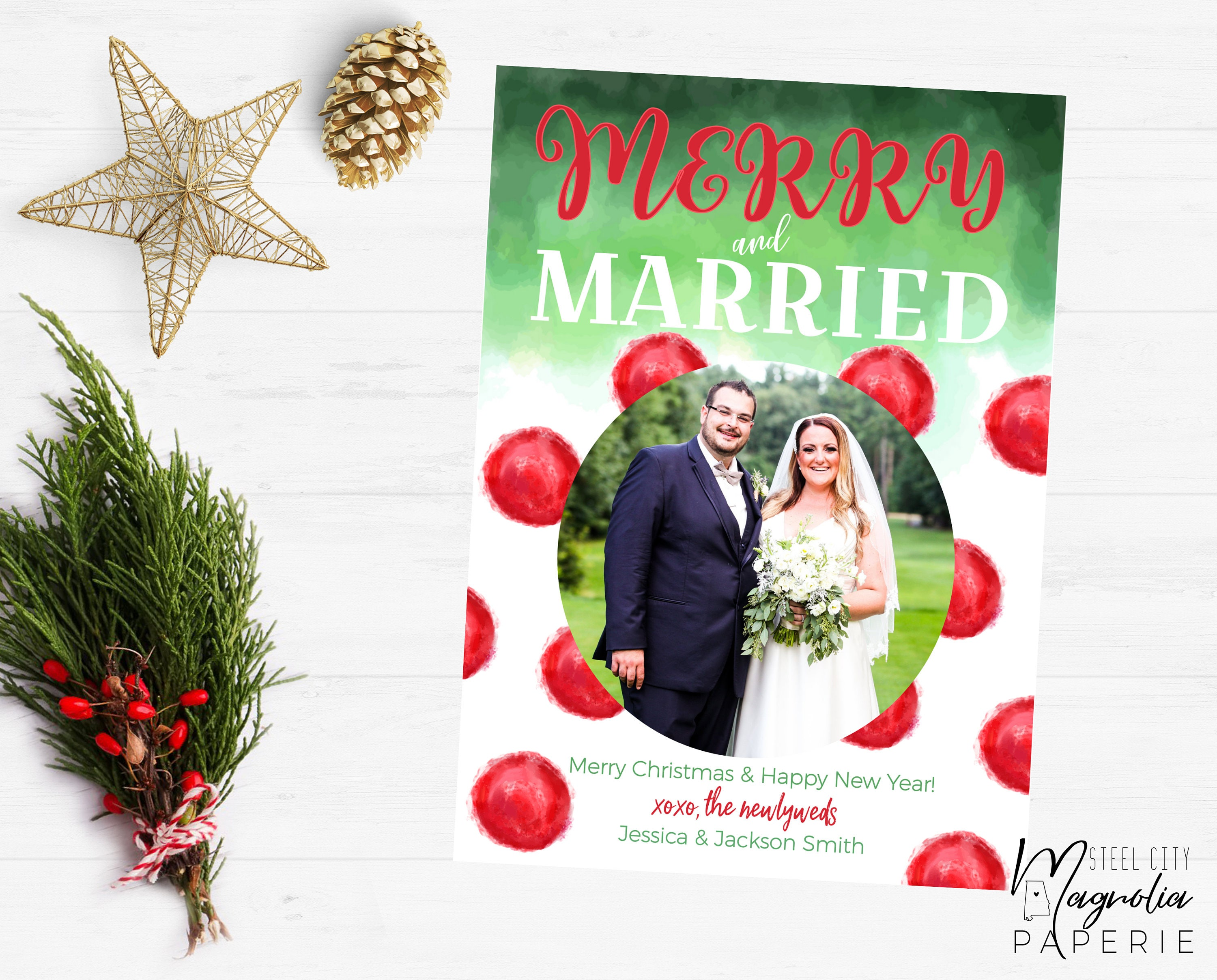 Merry and Married Christmas Card Watercolor Dots Newlywed | Etsy