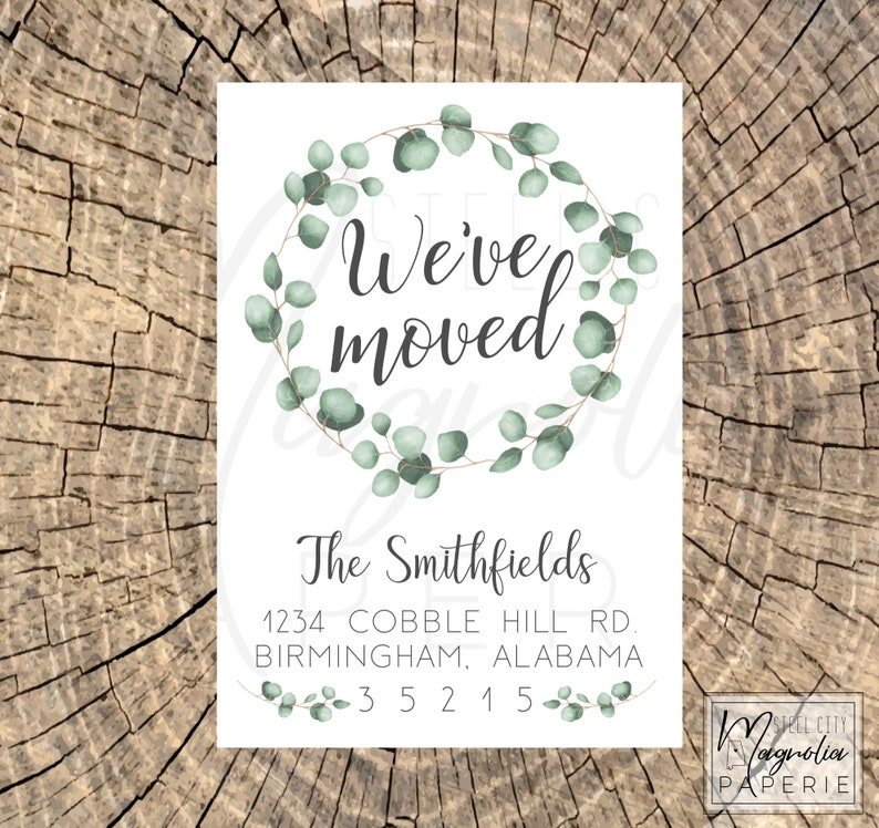 We've Moved Cards, New Address Card, Our New Home, Change of Address, We  Have Moved, Eucalyptus Watercolor Wreath, digital printable