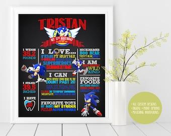 Sonic, Sonic the Hedgehog, Birthday Custom Chalkboard Poster Sign