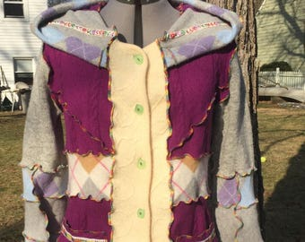 Wool fairy sweater - upcycled, deconstructed, sunburstbead designs buttons, pockets, hood, size Large named Sultan Hurrem