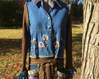 Floral Ridge deconstructed sweater coat - upcycled - recycled - all cotton with denim and embroidery - size Large