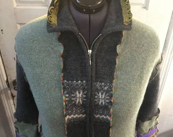 Decontructed wool coat, elf coat, fairy, bohemian, plus size, vintage trim and fringe, pockets, called Suleyman the Magnificient