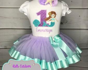 281dea40302a 1st birthday girl outfit / Little mermaid birthday outfit / mermaid tutu /  purple teal glitter / 1st birthday tutu / tutu outfit