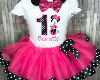 315df2ed24ab Minnie Mouse Birthday outfit / 1st Birthday Minnie tutu outfit / Minnie  Mouse Ribbon tutu / Hot Pink Black Polka Dot / 2nd 3rd birthday