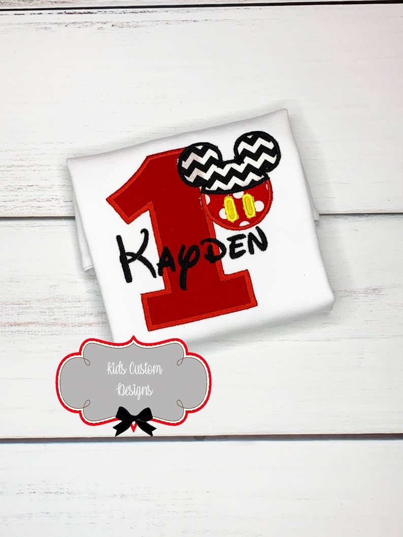 Mickey Mouse Birthday Shirt Party 1st Boy