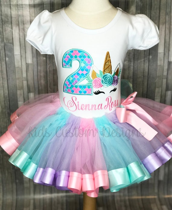 Unicorn Birthday Outfit Embroidered Shirt