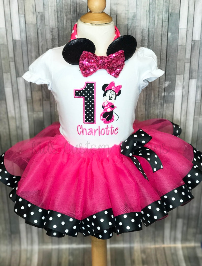 4f6cb17ef Minnie Mouse Birthday outfit / 1st Birthday Minnie tutu outfit | Etsy