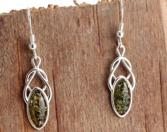 e627a6208 Sterling Silver Baltic Green Amber Celtic Knot Shepherds Hook Earrings