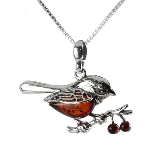 Details about  /Amber Robin Pendant Necklace Silver Amber Bird Pendant Necklace Baltic Amber