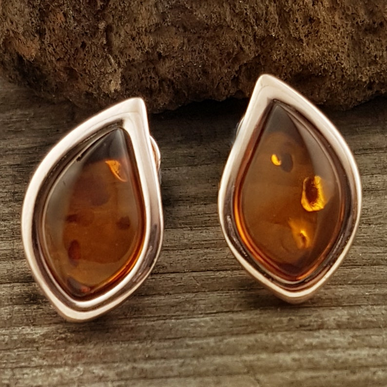 Pretty Rose Gold and Amber Earrings Stud Back Amber Amber Studs Sterling Silver Rose Gold Plated Baltic Honey