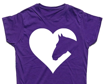 Heart Horses Fitted Cotton Horse Riding / Equestrian T Shirt Top