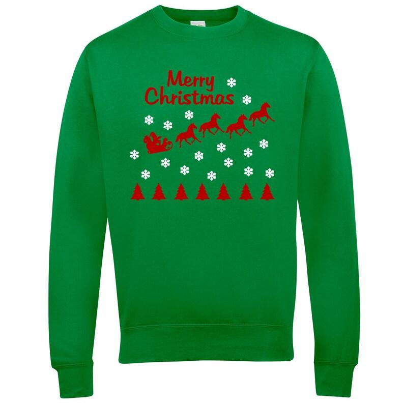 Frohe Weihnachten Pferd.Frohe Weihnachten Pferd Baumwolle Unisex Reiten Xmas Weihnachten Pullover Pullover Top