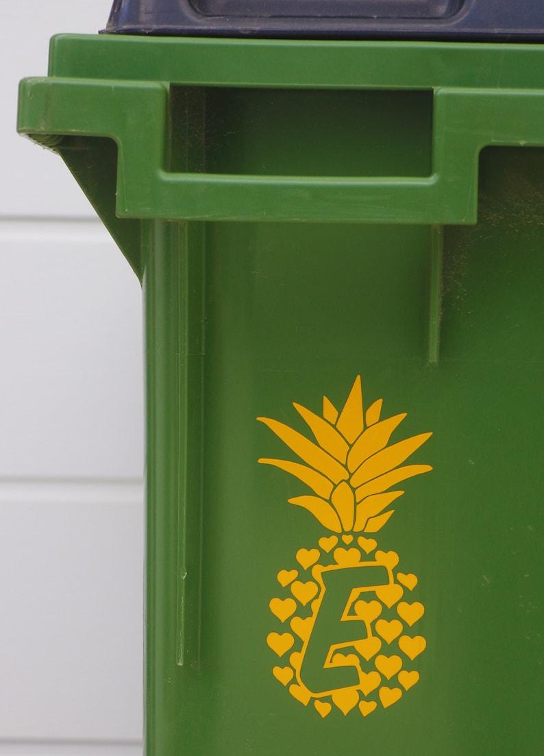 Reflective Pineapple Wheelie Bin House Number Die-Cut Vinyl Sticker Decal Recycling Food Caddy