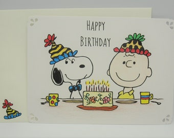 Hand Drawn Charlie Brown Snoopy Happy Birthday Card 5 X 7 With Embellished Envelope