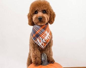 The Orchard - Personalized Flannel Plaid Dog Bandana - Custom Name Dog Bandana