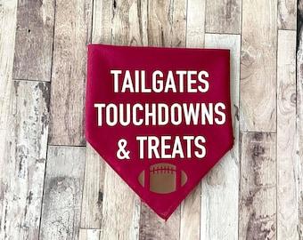 Tailgates Touchdowns and Treats Dog Bandana - Football Dog Bandana - Fall Dog Bandana - Cute Fall Bandana - Dog Football Bandana