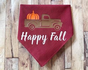 Happy Fall Pumpkin Truck Dog Bandana