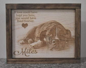 Custom Plaque With Your Photograph, Custom Memorial Sign, Pet Memorial, Wood Burned Sign, Engraved Sign, Memorial Plaque for Dog, Cat, Horse